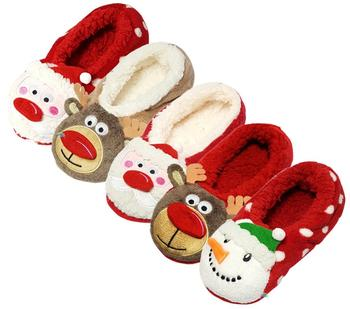 a1e8ffe8f31 Novelty Christmas Indoor Soft Warm Plush Red Girl Boy Slippers As Gift