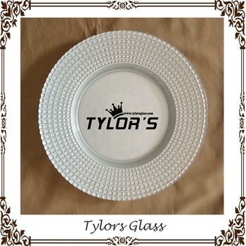 White Cheap Wedding Glass Chargers For Wholesale By Tylors Glass ...