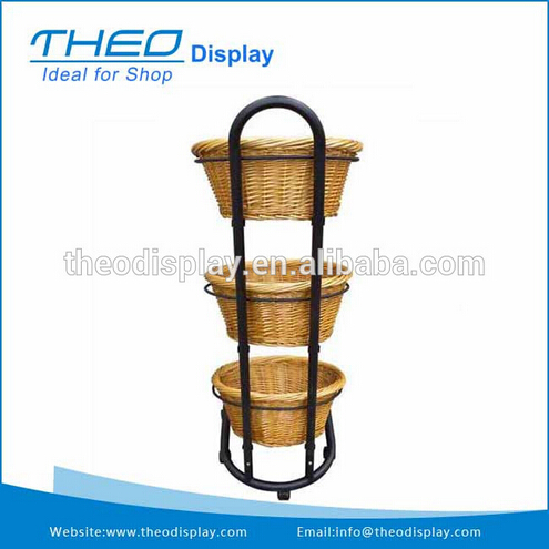 Stretchable rotating display wire racks with baskets