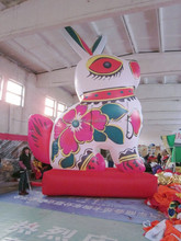 customized printed Chinese style inflatable big cartoon character,inflatable rabbit