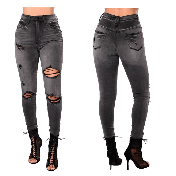 Women's jeans elastic summer new hole black female denim jeans ripped slim trousers ladies European American size фото