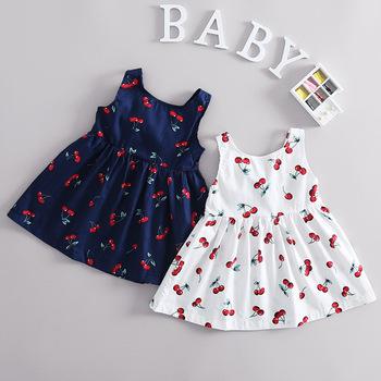 14e11752bae2 S33298W New Summer Baby Girls Cherry Printed Dress European Style Designer  Children Dresses