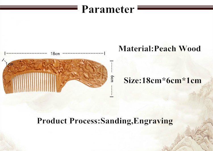 Double Sided Carving Peach Wooden Comb For Hair Massage