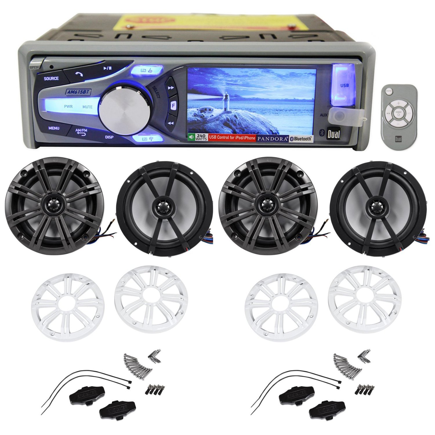 "Package: Dual AM615BT Marine/Boat CD Radio Receiver With Bluetooth Audio, iPhone, and Pandora Control + (2) Pairs of Kicker 41KM654LCW 6.5"" 2-Way Coaxial Marine/Boat Speakers Totaling 780 Watt"