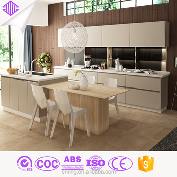 Modern Kitchen Design Color Matched Pvc Cabinet With Refrigerator Built In
