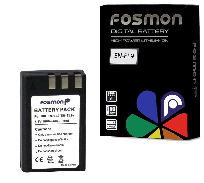 Fosmon EN-EL9 / EN-EL9A Extended Life Replacement Battery Pack for Compatible Nikon Digital Cameras & Camcorders - 7.4 V / 1800 mAh