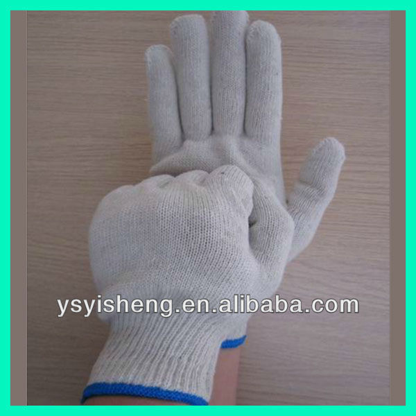 Bleached White Fine Cotton Seamless Knitted Gloves / Sweat Absorbing / Anti Abrasion