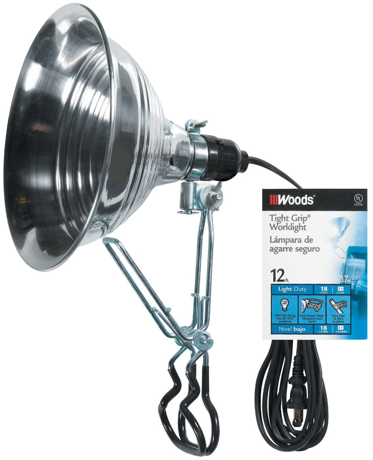 Woods 2839 18/2 Gauge SPT-2 Tight Grip 150-Watt Clamp Lamp with 8.5-Inch Reflector, 12-Foot