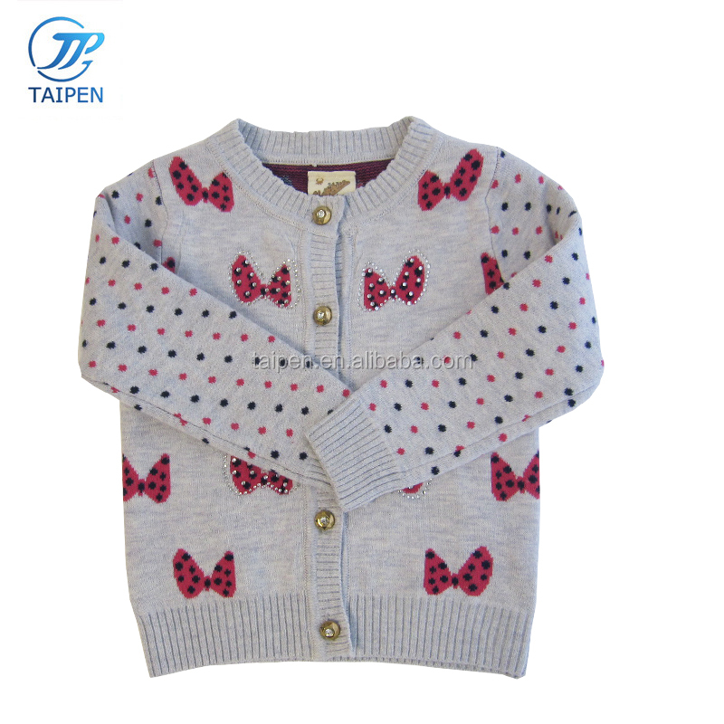 Baby Girls Clothes Knitted Cardigan Sweater With Computer Knitted Pattern And Decorated With Diamonds