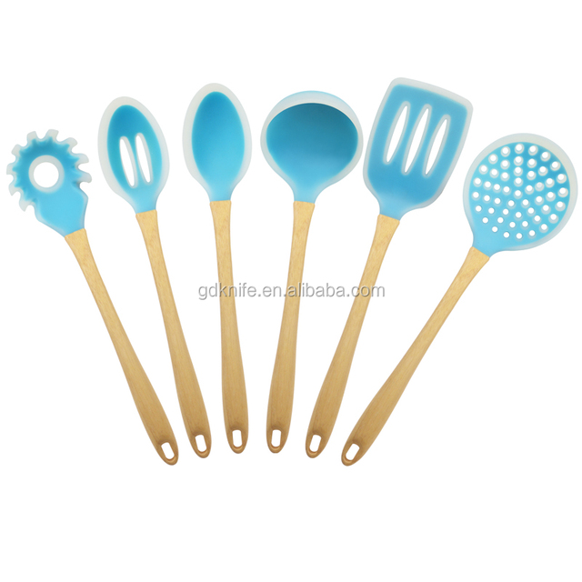 Food grade wood handle colorful 6 piece silicone kitchen utensil sets