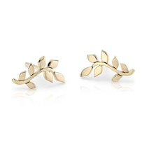 New arrival fashion 22k gold jewellery dubai women leaf stud earrings