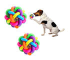 Amazon Top Seller 2019 New Pet Products Colorful Bells Weave Rubber Dog Cat Squeaky Ball Toy