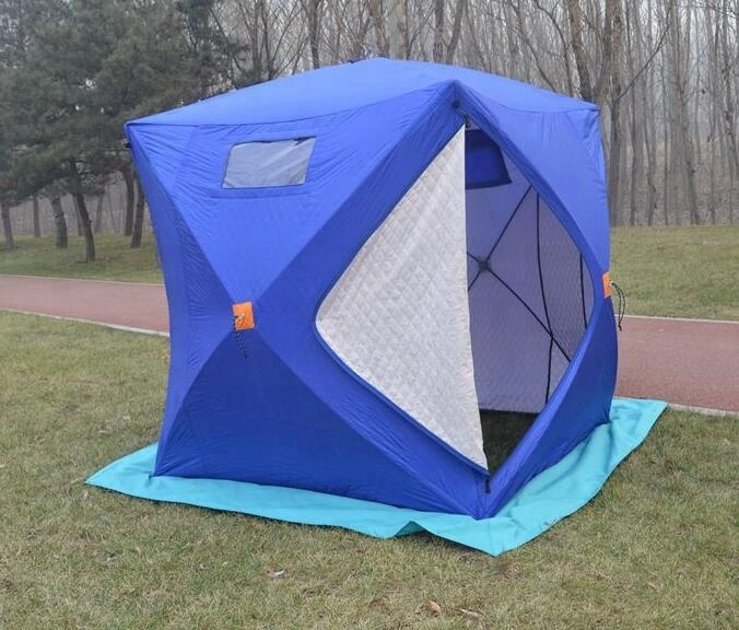 Camping pop up quick open ice cube winter fishing tent фото