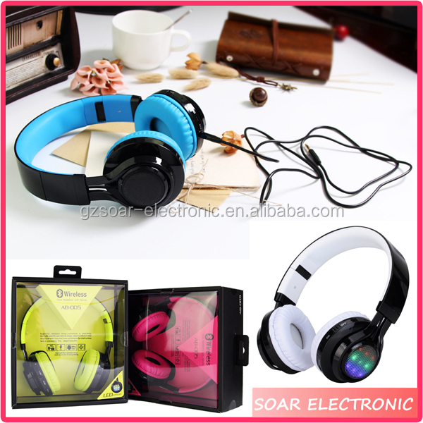 [Soar]Fashion Design LED Light Wireless Bluetooth Headphone Gaming Stereo Headset With FM TF Card