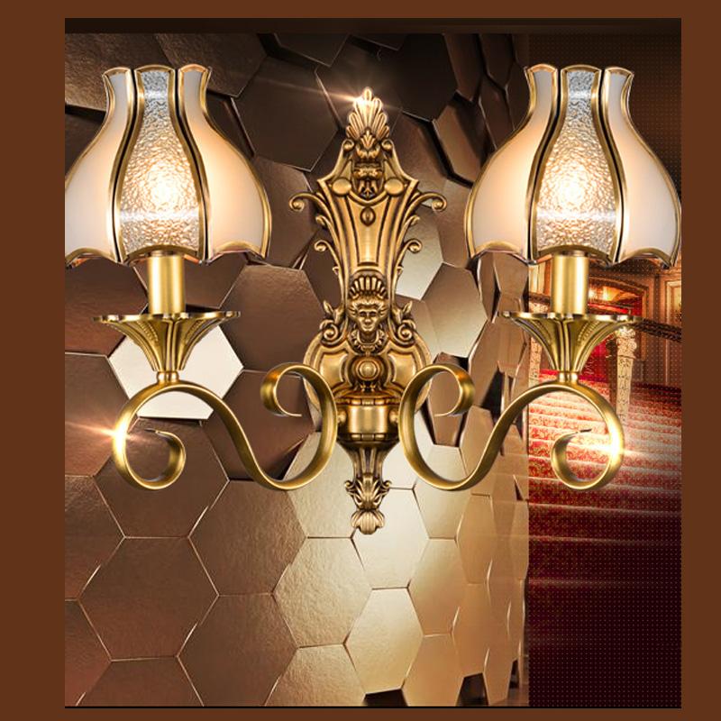 Indoor Lightning: America Retro Copper Wall Lights Antique Wall Lamp Indoor