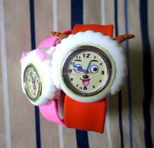 Cheapest and High quality cartoon steel wrap silicone slap band watch