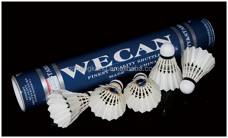 Original WECAN blue badminton shuttlecock Feather Shuttlecock/Best Durability top grade duck feather shuttlecock for tournament