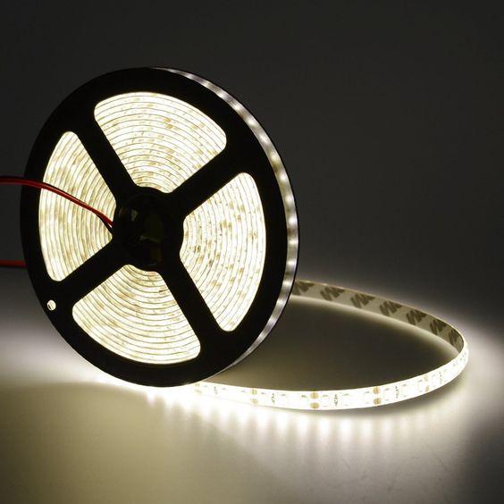 12V 5M Cool White Flexible LED Strip Light 3528 Waterproof Decoration Lights