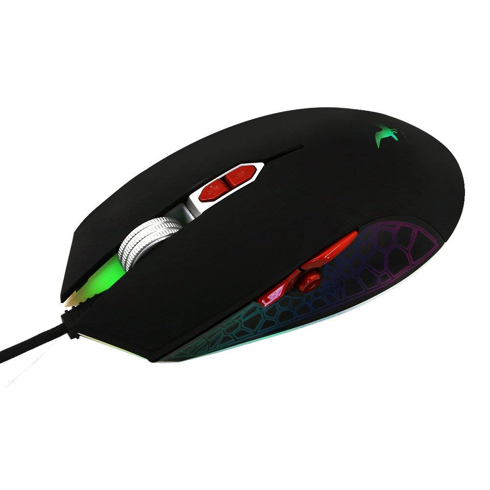 DIGISKYJOY Gaming Mouse Wired with Breathing Led Light Adjustable DPI 8 Programmable Buttons Fire Power Button Aluminum Scroll Wheel Optical Mice for Games Gamer PC Computer Laptop (Black)