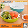 Innovative And Creative Colourful Plastic Round Double Layer Strainer Plastic Vegetable Wash Basket