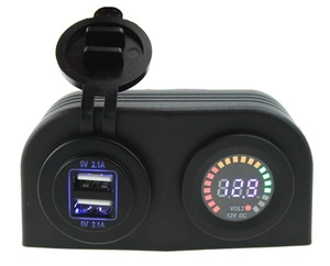12V Motorcycle car boat led Dual USB Adapter Charger voltmeter Sockets tent panel with installation kits