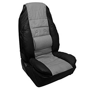 Racing Synthetic Leather Seat Cover, Black/Grey, 1-Piece by Pilot Automotive