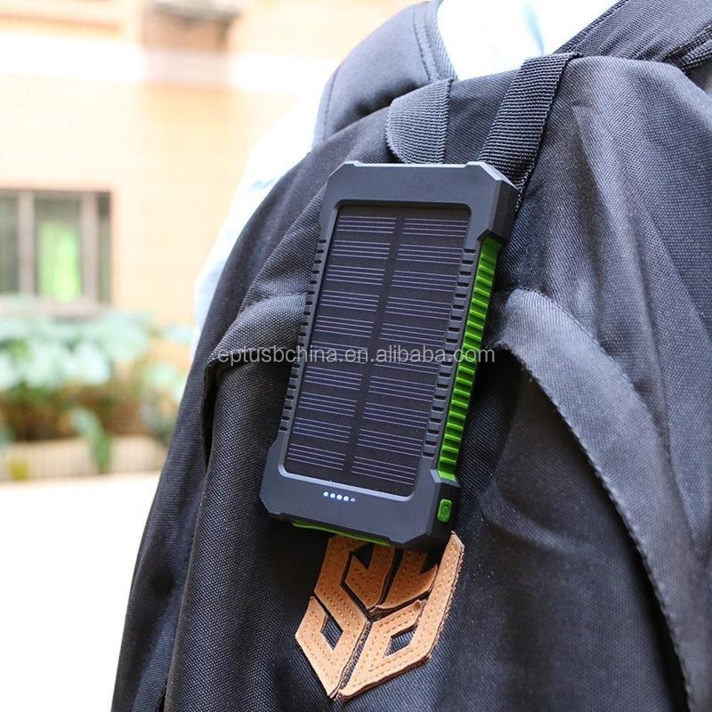 Su geçirmez açık güneş enerjisi şarj cihazı cep telefonu taşınabilir güneş pili güç bankası