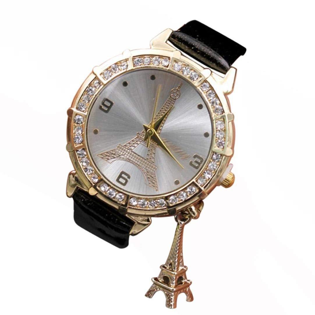 WM & MW Ladies Watches, Crystal Eiffel Tower Pendant PU Leather Band Quartz Wrist Watch for Women