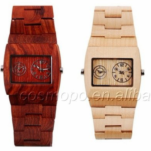 Japanese quartz movt hand made square wood watch face wooden wrist watch