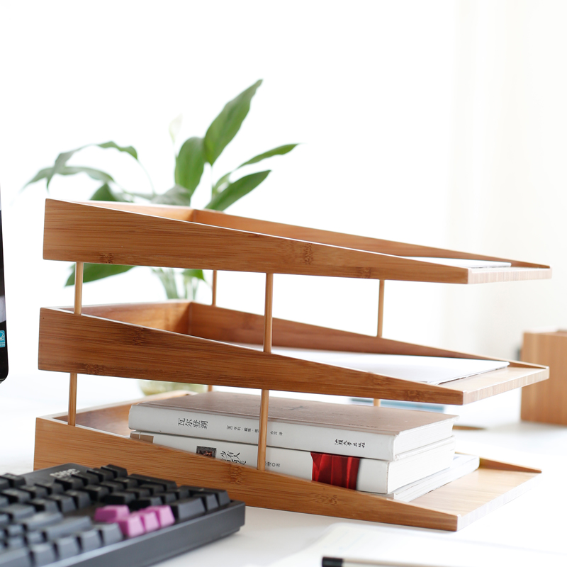 bamboo file tray document tray