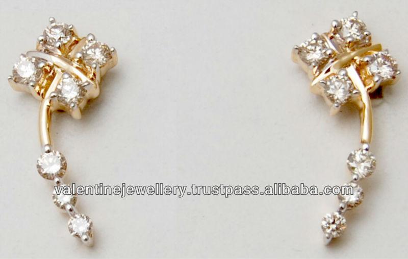 Daily Wear Diamond Gold Earrings Low Price Small Design Kids Earring In
