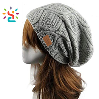Manufacturer jacquard beanie hat slouchy cashmere wool women knitting hat winter detachable straight needle kn