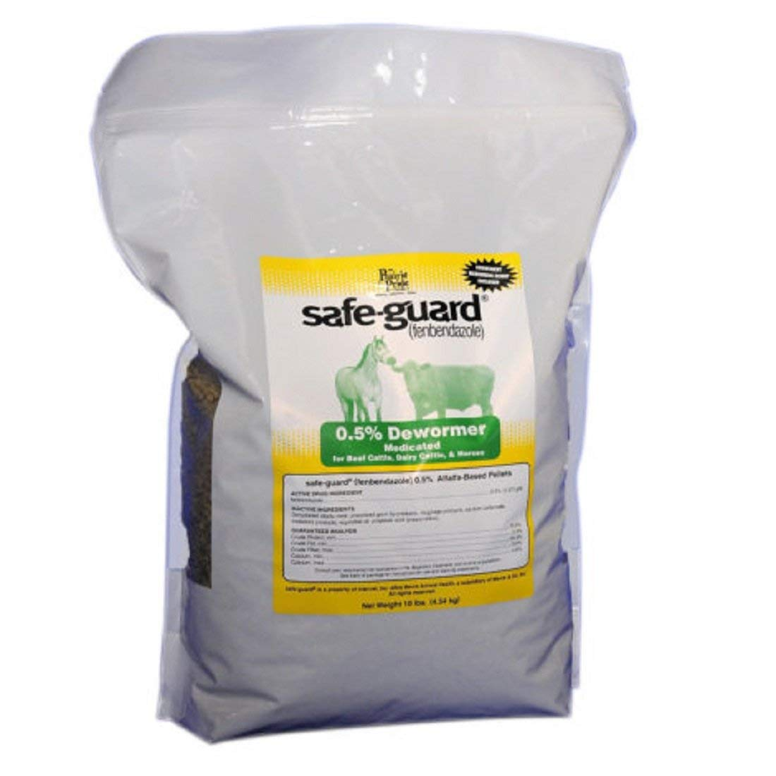 PRAIRIE PRIDE Medicated Dewormer for Farm Livestock - Pelleted alfalfa-based, contains 0.5% safe-guard - 10 LB
