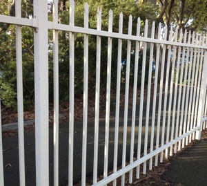 Spear Top Security Iron Fencing With Punched Tube Rails Powder Coated