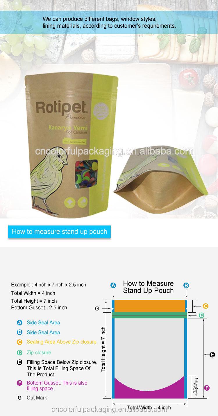 Sacos ziplock 100% biodegradáveis do plástico do papel kraft resealable com janela