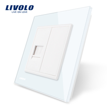 Wholesale/Retail CrystalLivolo Glass Panel 1 Gang TEL Socket / Outlet VL-C791T-11 Without Plug adapter