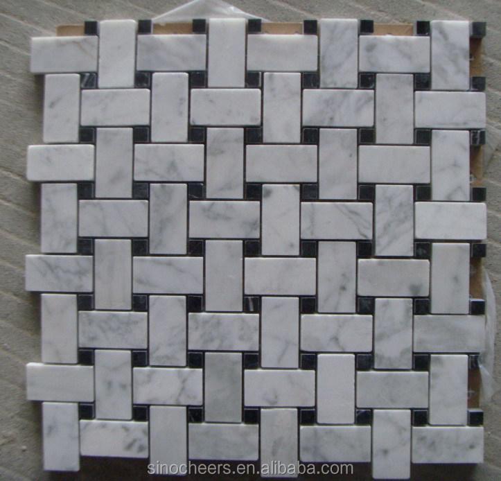 Dog Bone Basketweave Basket Weave Stone Mosaic Tile Wh White Carrara Marble