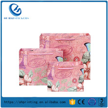 Durable Pink Butterflies Pattern Custom Bags Wrapping Gifts Packaging