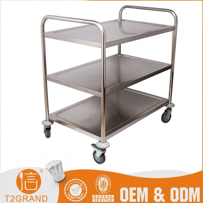 Hot Sell Custom Design Kitchen Island Food Cart Trolley Dimension With Wheels
