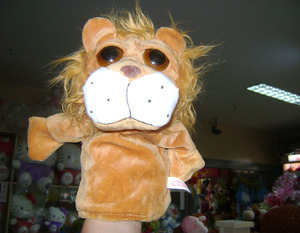 30cm promotional plush lion hand puppet animal toy hand glove puppet