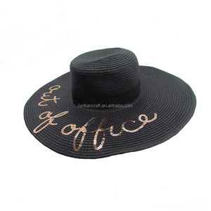 Custom Fashion Women's Summer Foldable Letter Embroidered Panama Wide Brim Straw Floppy Beach Hat