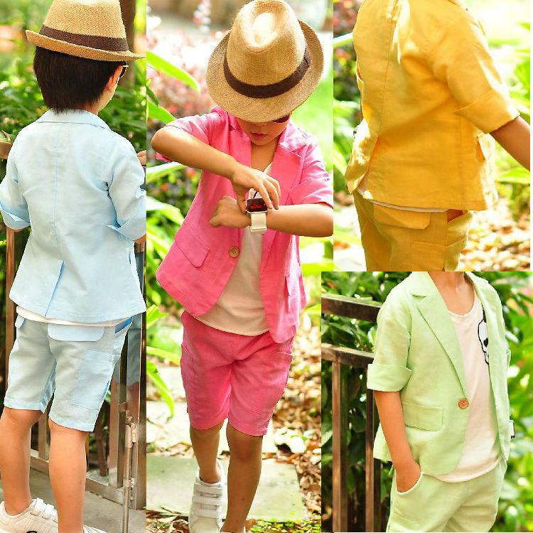 Retail Summer Children Clothing Set Korean style boys suit baby kids clothes set coat pants 2