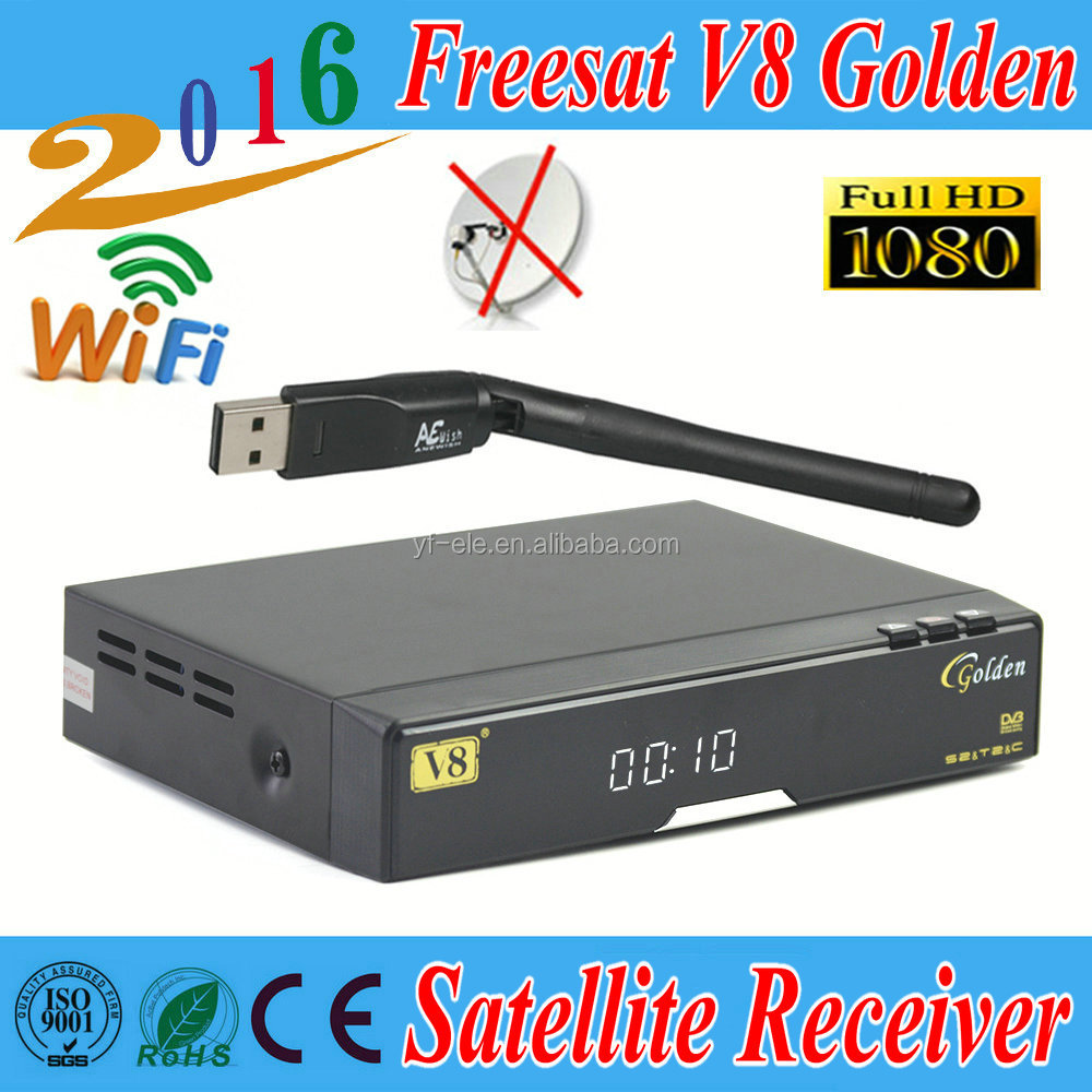 free shipping <strong>Satellite</strong> <strong>receiver</strong> Freesat V8 Golden <strong>HD</strong> DVB-S2+T2+C+1pcs USB Wifi PowerVu <strong>Youtube</strong> Youporn Biss Key Cccam Newcamd