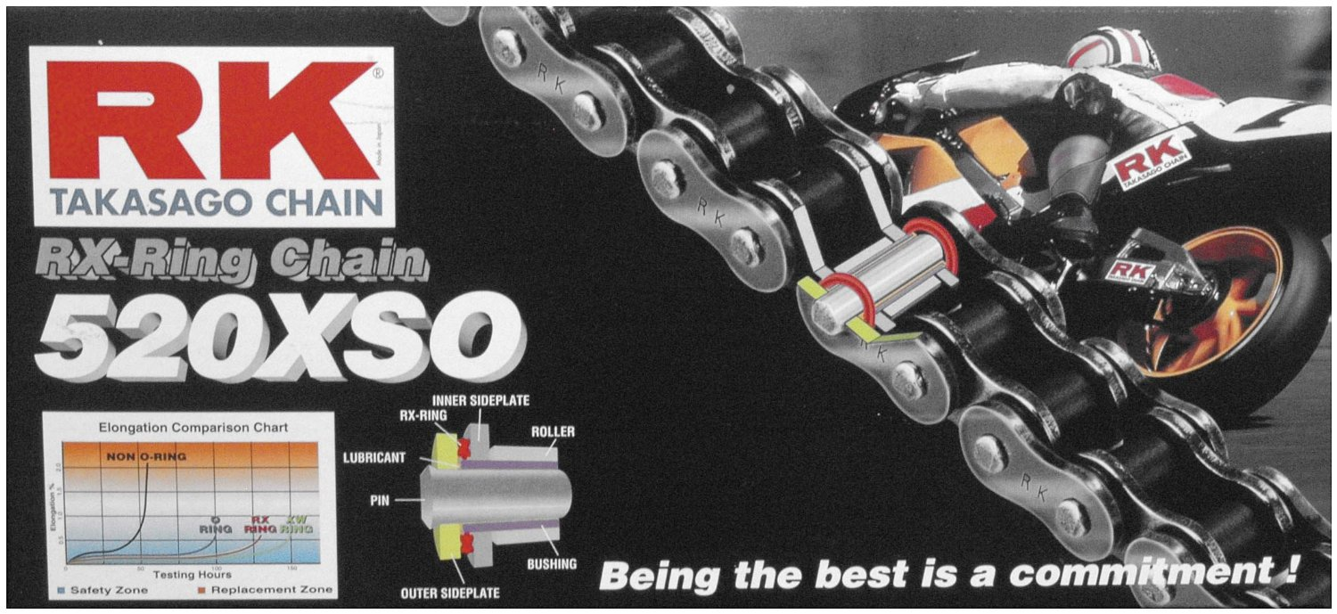 RK 520 XSO RX-Ring Chain - 104 Links , Chain Type: 520, Chain Length: 104, Chain Application: All 520SXO104