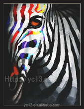 2016 wall art frameless zebra's canvas oil painting on canvas