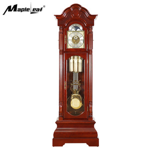 Factory Direct Triple Chimes Mechanical Carved Wood Grandfather Floor Clock