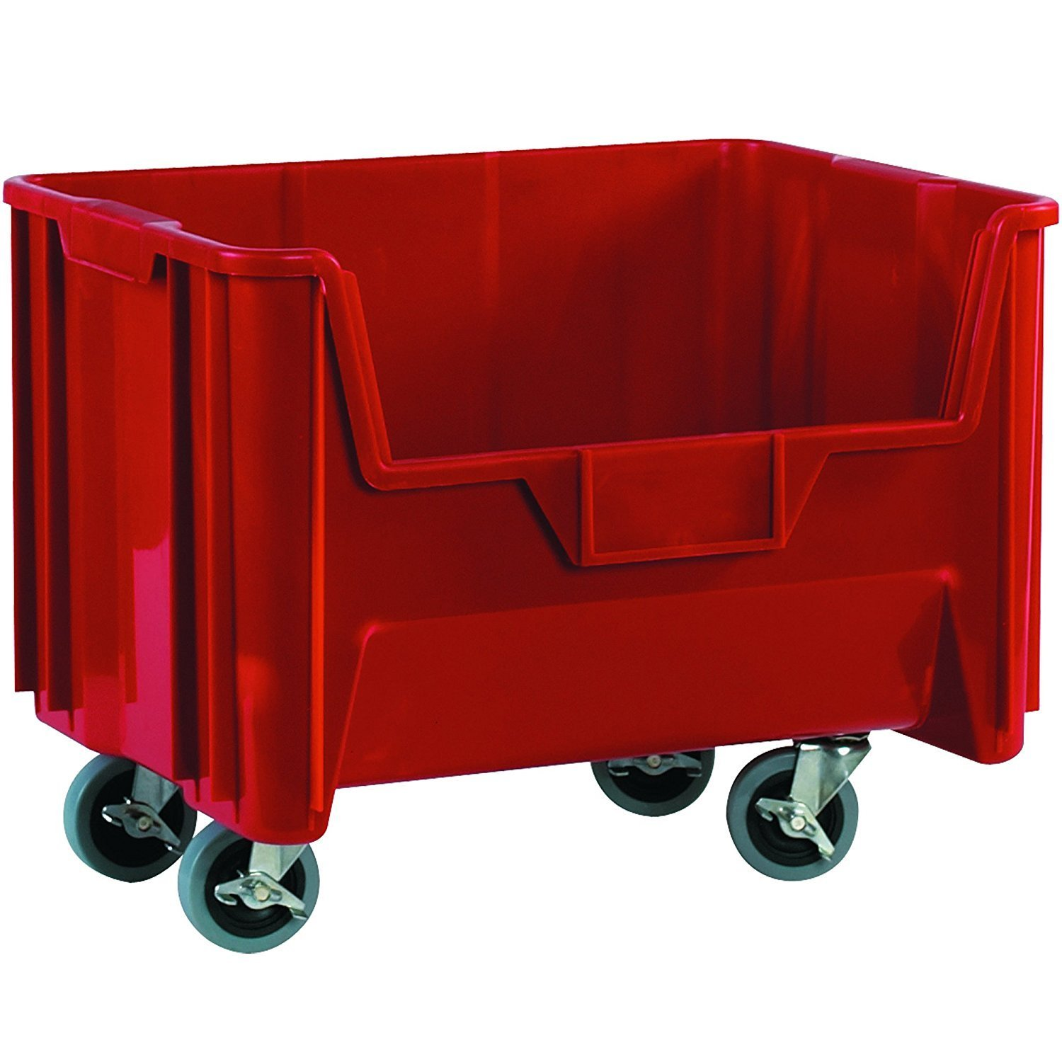 "RetailSource BING121 19 7/8"" x 15 1/4"" x 12 7/16"" Red Mobile Giant Stackable Bins, 19.875"" Length, 12.4375"" Height, 15.25"" Width (Pack of 3)"