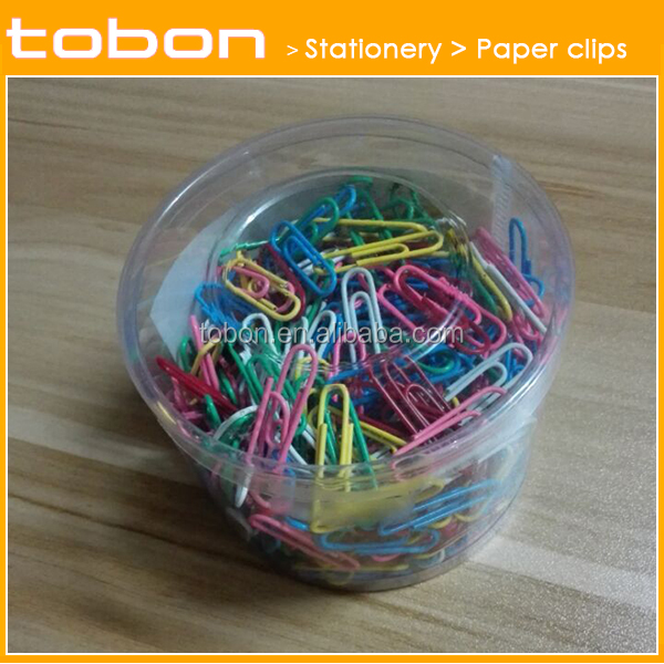 28mm vinyl paper clip, colorful paper clip, pvc coated paper clips 500pcs in tube