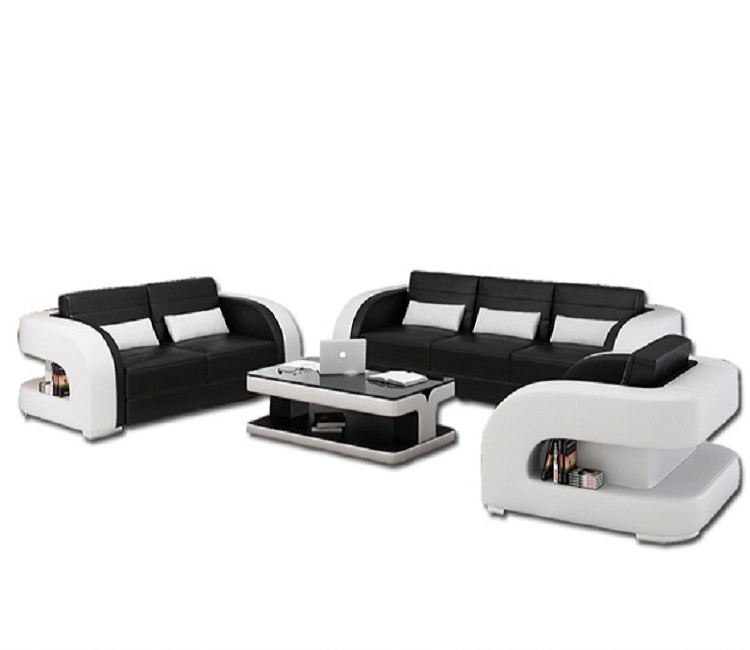 Black And White Genuine Leather Sofa