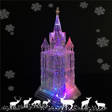 Battery Operated LED Lighted Crystal Acrylic Christmas Church Figurines with Circulating Water Inside